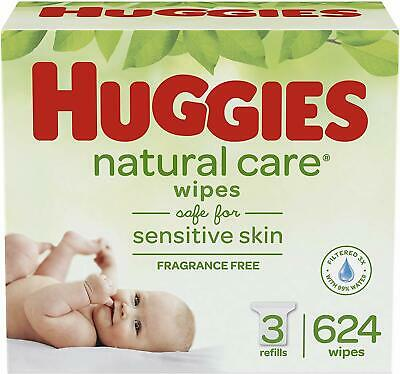 HUGGIES Natural Care Unscented Baby Wipes, Sensitive, 3 Refill Packs (624 Total