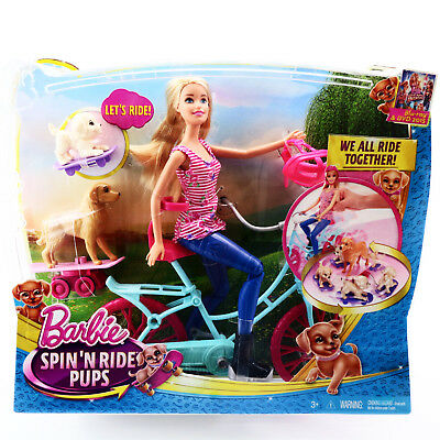 Barbie Spin'n Ride Pups Doll Bicycle Puppy Adventure Toys For Girls Age 3 4 5 6