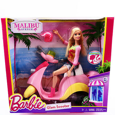 Barbie Doll w/ Glam Scooter Malibu Ave CNB33 Vehicles Toys For Girls Age 3 4 5 6