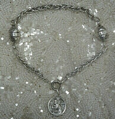 French Antique Vintage Sterling Silver Ball Bracelet with Charm