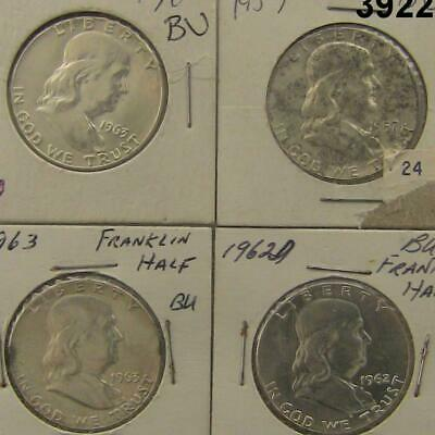 4 Coin Franklin Half Dollars Bu 1957,1962D, (2)1963 All Nice! #3922