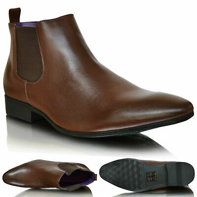 New Mens Pointed Toe Brown Leather Smart Casual Chelsea Ankle Boots Shoes 6-11