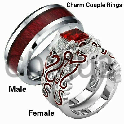 cf96cc8292 Red Stainless His & Lover Engagement Steel Couple Rings CZ Band Hers Set  Wedding