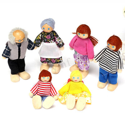 6 Dolls Cute Wooden House Family People Set Kids Children Pretend Play Toy Gift