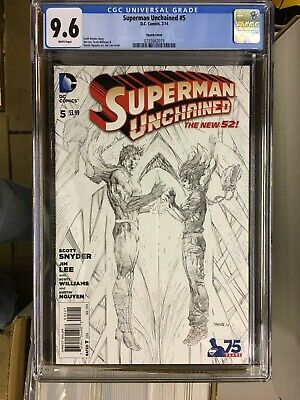 SUPERMAN UNCHAINED #5, JIM LEE SKETCH VARIANT, CGC 9.6, New, DC Comics (2014)