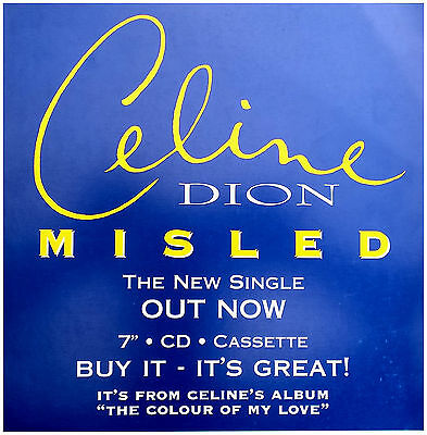 """CELINE DION Display Misled BLUE Out Now UK PROMO Rare 12"""" x 12"""" Poster"""