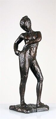 Nude Dancer in Pose of Attaching Her Suit Edgar Degas Large Bronze Finish Statue