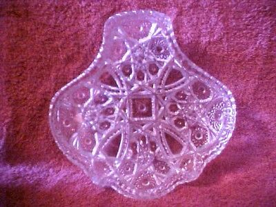 Vintage Cut Glass DISH PLATE, PRETTY PATTERN, SAW TOOTH EDGE  ABSTRACT SIZE