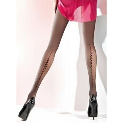 Black 20 denier transparent Pantyhose  with the back seam  Linette by Gabriella