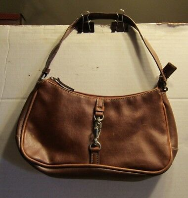Preowned Estate Find Brown Handbag Purse Faux Leather w buckle accent F681