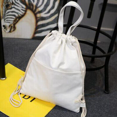 Canvas Drawstring Backpack Bag Portable String Knapsack Women Shoulder Bag CB