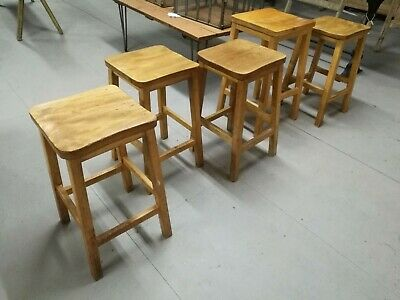 Reclaimed 1920s / 1930s Period Pine School / Lab Stools  -  Warwick Reclamation