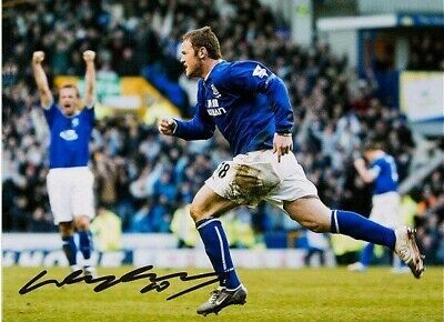 WAYNE ROONEY SIGNED EVERTON 16x12 INCH FOOTBALL PHOTO SEE COA & PROOF