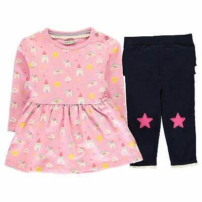 Crafted Mini Baby Kids Girls 2 Piece Sweet Dreams Dress Infant Clothing Set Long