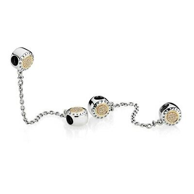 New Authentic Pandora Silver & 14K Gold Signature Clear CZ Safety Chain 796269CZ