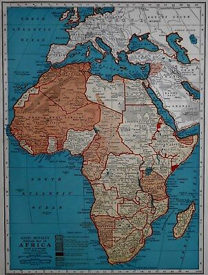 RARE Vintage 1941 Atlas Map World War WWII Africa & Europe Mediterranean L@@K!