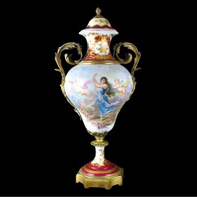 Large antique Sevres hand painted porcelain urn with bronze mounting.