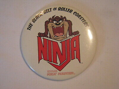 Old Six Flags Magic Mountain Button Pinback Ninja The Black Belt Roller Coasters
