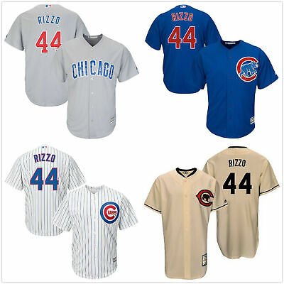 Men's #44 Anthony Rizzo Chicago Cubs Cool Base Jersey White/Royal/Gray/Cream