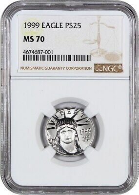 1999 Platinum Eagle $25 NGC MS70 - Statue Liberty 1/4 oz