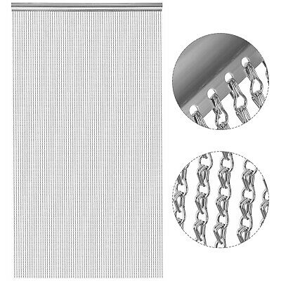 Aluminium Fly Pest Door Screen Aluminium Metal 90X210cm Chain Curtain Silver