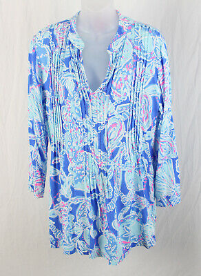 7aeb8a6bd4d Lilly Pulitzer Women's Multi Blue White Pink Print Tunic Shirt Top Size L