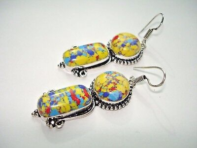 "AB Yellow Mosaic Jasper One-of-a-Kind Earrings Silver 2.25"" Turquoise Red Blue"