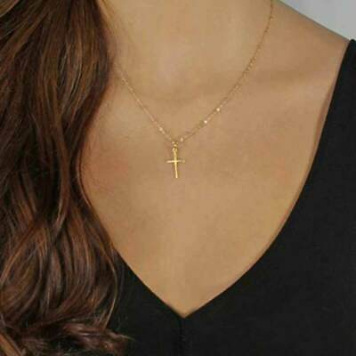 Women fashion Gold Chain Cross Necklace Small Gold Cross Religious Jewelry Gift