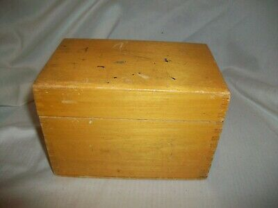 Vintage Recipe Box Wooden Hinged Dovetail Light Wood