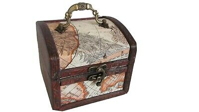 Mini Treasure Chest Trunk Box Vintage  World Style Jewelry Watch Coin Storage