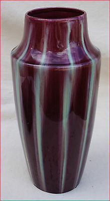 French Art Deco Cherry Red Green Drip Glaze Vase Faience L Gueule Vierzon