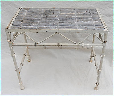 French Faux Bamboo Side End Garden Table Iron 1910