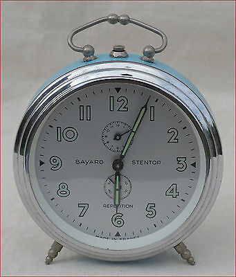 French BAYARD STENTOR Repetition Alarm Clock Phosphorescent Vintage