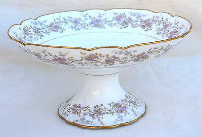 French Gilt Flowery Transferware Porcelain Compote Footed Dish A Hache Vierzon