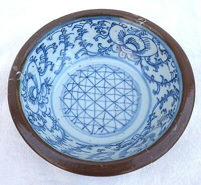 Chinese Blue White Batavian Bowl Qing Period Late 19th C for Repair
