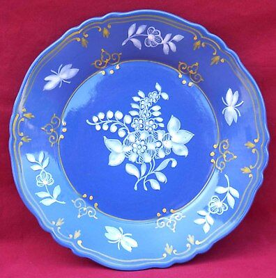French Blue Hand Painted Faience Plate St Omer Normandy Vintage