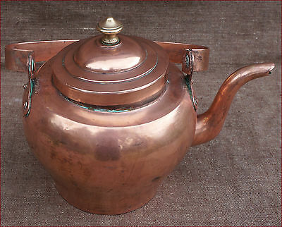 Large French Tin Lined Copper Tea Kettle Sead Brass 1900