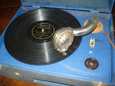Portable Record Player 78 RPM RARE ANTIQUE PHONOGRAPH GRAMOPHONE WORKS GREAT !
