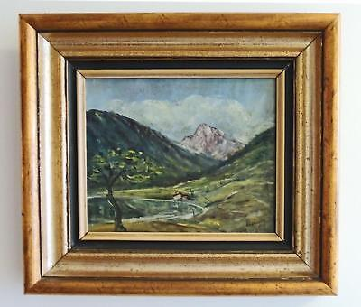 "VINTAGE ERICH KRÜGER OIL PAINTING - ALPINE HILLSIDE - FRAMED and SIGNED 15"" x13"""