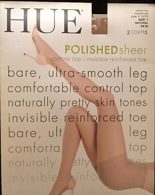5dada594493 HUE POLISHED SHEER  10775 Control Top Natural Pantyhose - Size 1 NIP