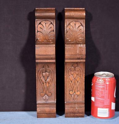 "*Pair of 12"" French Antique Corbels/Pillars/Brackets in Walnut Wood Salvage"