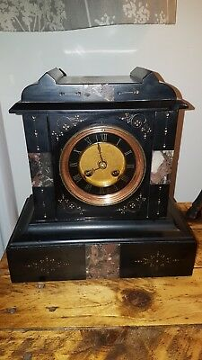 Large French Antique Slate & Marble Clock