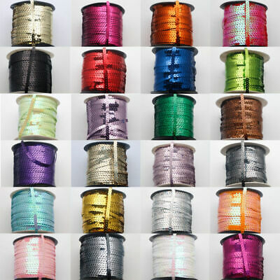 5Yards 6mm ELASTIC STRETCH SEQUIN TRIM : Select from 24 Colours
