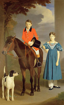 Huge oil painting handsome young boy horseman with young girl dog Hand painted