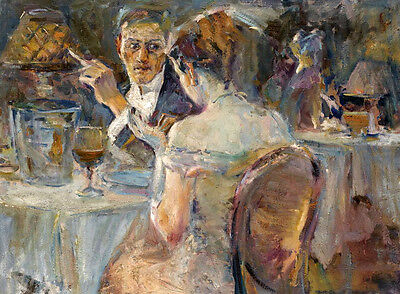 Art Oil painting impressionism portraits young woman man in the bar restaurant