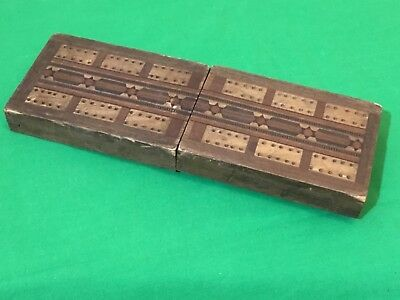 Old Antique Inlaid Wooden Cribbage Card Game Wide Playing Cards Scoring Box #4