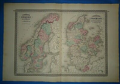 Vintage 1873 NORWAY DENMARK SWEDEN MAP Old Antique Original Johnson Atlas Map