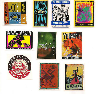 Vintage/Retired Starbucks Stickers-Coffee Bag Stamps-1990s-Set of 10