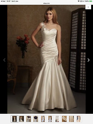 76d6f57c0bcb Allure Mermaid One Shoulder Beaded Satin Wedding Dress Style 2467K Size 10  (8)