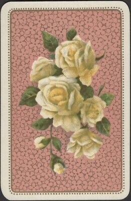 Playing Cards 1 Single Swap Card Antique German Yellow ROSE FLOWER ROSES FLOWERS
